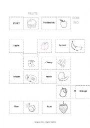 English Worksheet: fruits domino game
