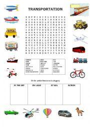 English Worksheet: Transports word search