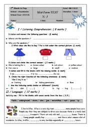 English Worksheet: mid-term test 3