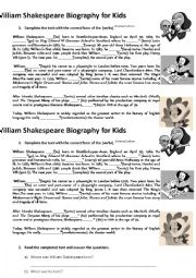 English Worksheet: Shakespeare Biography
