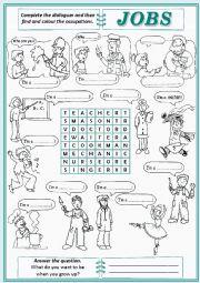 English Worksheet: Jobs Word-search
