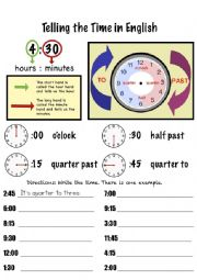 English Worksheet: Telling Time - Quarter Hours