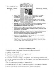 English Worksheet: Watergate: The Power of the Press