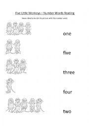 English Worksheet: Five Little Monkeys Song Worksheet Number Words Reading
