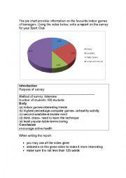 English Worksheet: Pie chart report