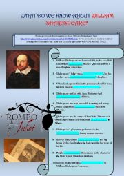 English worksheet: WILLIAM SHAKESPEARE