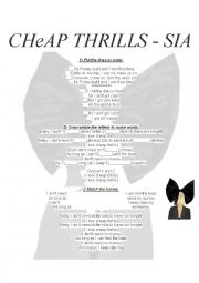 English Worksheet: Cheap Thrills - SIA