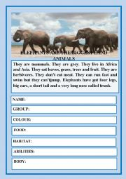 English Worksheet: AMAZING ANIMALS I - READING COMPREHENSION