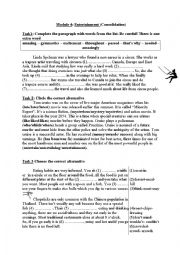 English Worksheet: Entertainment (consolidation)