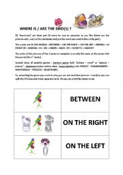 English Worksheet: prepositions of place with several games