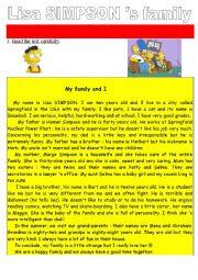 English Worksheet: Lisa Simpson �s family Reading Comprehension Test