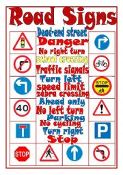 Road Signs Matching Activity