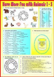 English Worksheet: Have more fun with animals 5  + KEY