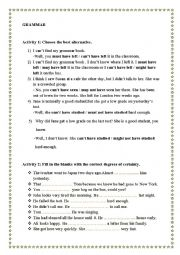 English Worksheet: exercises about past modals