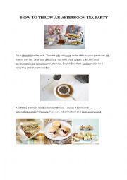 English Worksheet: An Afternoon Tea Party
