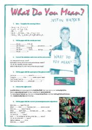 English Worksheet: Song: What do you mean - Justin Bieber