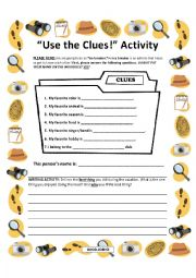 English Worksheet: Use the Clues Icebreaker Activity