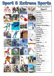 English Worksheet: sports and extreme sports