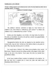 English Worksheet: S1 Reading Quiz 2_ Children��s Festivals in Japan