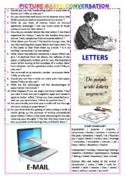 English Worksheet: Picture-based conversation : topic 100 - emails vs paper letters