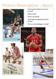 English Worksheet: Picture Description - Sport