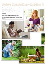 English Worksheet: Picture Description - Hobbies 1