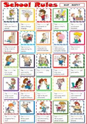 English Worksheet: School Rules with must and mustn´t