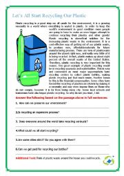 English Worksheet: Let�s All Start Recycling Our Plastic!