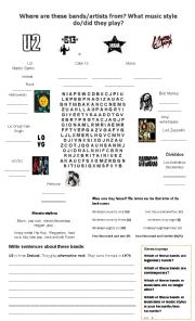 English Worksheet: Bands, Musicians, countries, music styles and dates