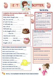English Worksheet: Betty Botter - Nursery Rhyme