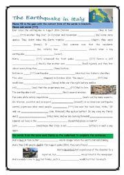 English Worksheet: Mixed grammar italy earthquake
