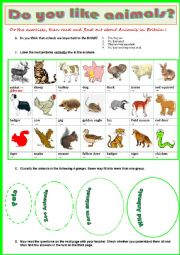 English Worksheet: Animals in Britain  -  Reading + vocabulary exercises + Key