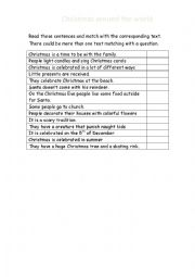 English Worksheet: Christmas around the world 3/3