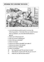 English Worksheet: Oral activity. Describe the room. Speaking test 2. ( two pictures)