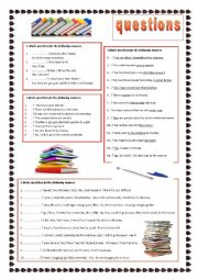 English Worksheet: Questions A1