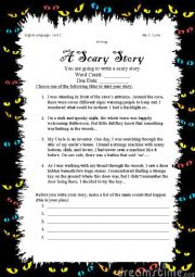 English Worksheet: Writing a Scary Story
