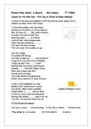 English Worksheet: a poem about first day at school