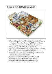 English Worksheet:  Describe the house 3. Oral exam. Speaking. A2
