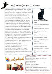 English Worksheet: Minxy the Cat finds a home at Christmas.