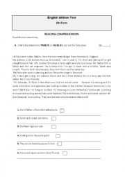 English Worksheet: English written test 6th grade