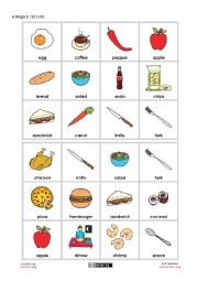 English Worksheet: Food Bingo - Beginner