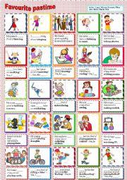 English Worksheet: Favourite pastime