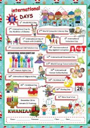 English Worksheet: December International Days