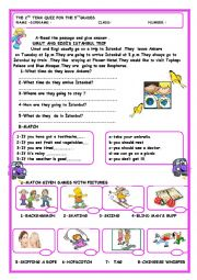 English Worksheet: simple present tense reading comprehension with prepositions