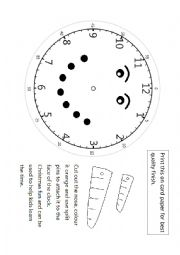 Telling the time - Clock faces split pin craft (Christmas themed)