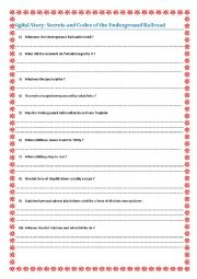 English Worksheet: Secrets and codes of the Underground railroad