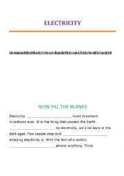 English Worksheet: ELECTRICITY