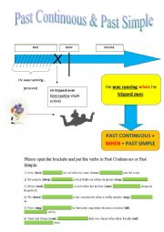 English worksheet: PAST CONTINUOUS & PAST SIMPLE
