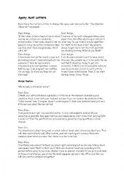 English Worksheet: agony aunt letter
