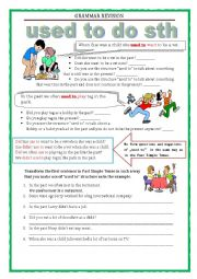 English Worksheet: GRAMMAR REVISION - used to